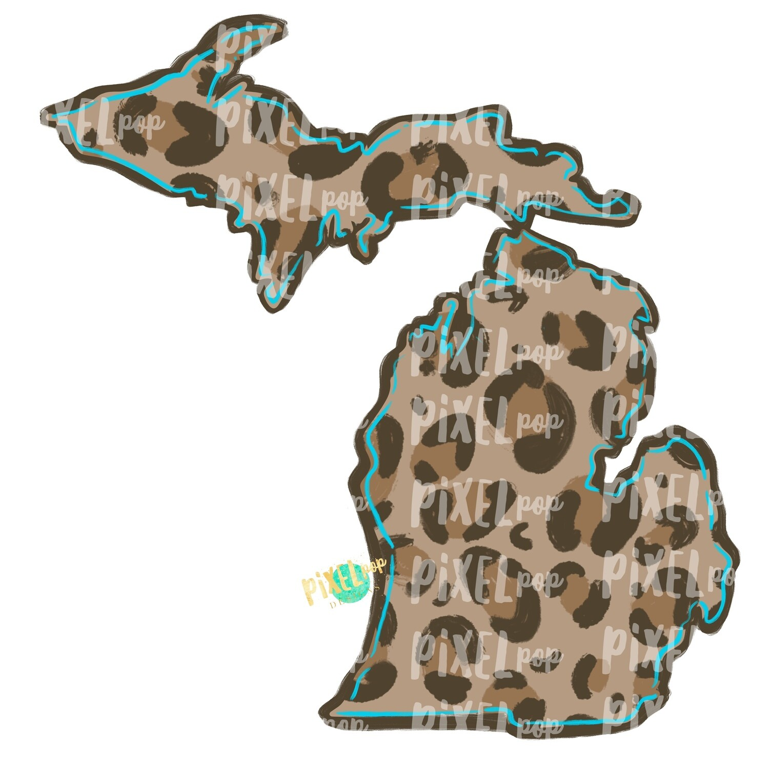 State of Michigan Shape Turquoise and Leopard PNG | Michigan | Home State | Sublimation Design | Heat Transfer | Digital | Leopard Print