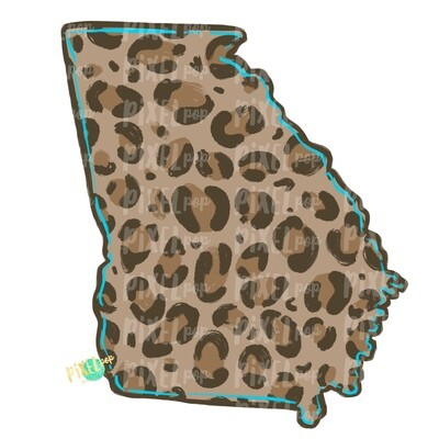 State of Georgia Shape Turquoise and Leopard PNG   Georgia   Home State   Sublimation Design   Heat Transfer   Digital   Leopard Print