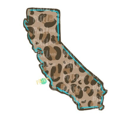 State of California Shape Turquoise and Leopard PNG | California | Home State | Sublimation Design | Heat Transfer | Digital | Leopard Print