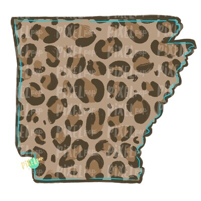 State of Arkansas Shape Turquoise and Leopard PNG | Arkansas | Home State | Sublimation Design | Heat Transfer | Digital | Leopard Print
