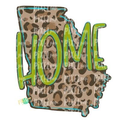 State of Georgia Shape HOME Leopard PNG | Georgia | Home State | Sublimation Design | Heat Transfer | Digital | Leopard Print