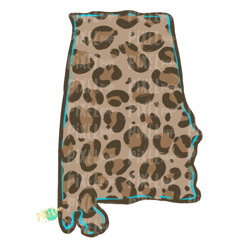 State of Alabama Shape Turquoise and Leopard PNG | Alabama | Home State | Sublimation Design | Heat Transfer | Digital | Leopard Print