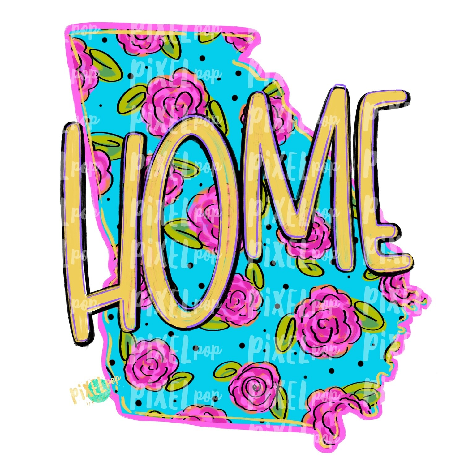 State of Georgia Shape HOME Floral PNG | Georgia | Home State | Sublimation Design | Heat Transfer | Digital | Flower Background