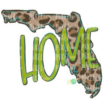 State of Florida Shape HOME Leopard PNG | Florida | Home State | Sublimation Design | Heat Transfer | Digital | Leopard Print