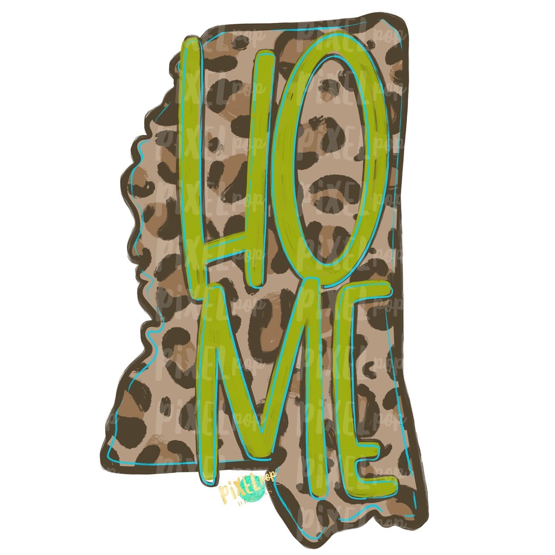 State of Mississippi Shape HOME Leopard PNG | Mississippi | Home State | Sublimation Design | Heat Transfer | Digital | Leopard Print