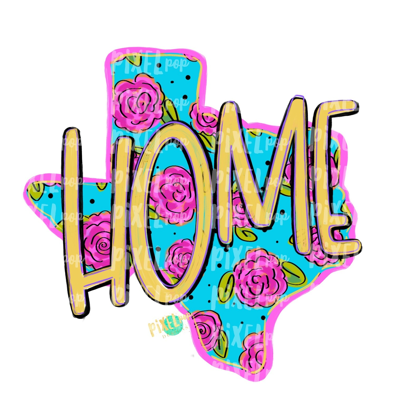 State of Texas Shape HOME Floral PNG | Texas | Home State | Sublimation Design | Heat Transfer | Digital | Flower Background