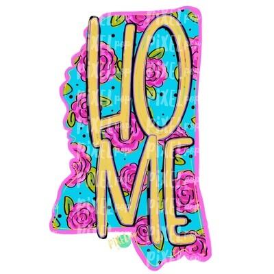 State of Mississippi Shape Blue Floral PNG | Mississippi | Home State | Sublimation Design | Heat Transfer | Digital | Flower Background