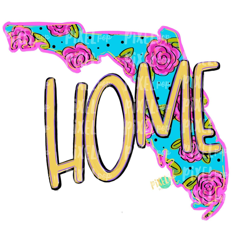 State of Florida Shape HOME Floral PNG | Florida | Home State | Sublimation Design | Heat Transfer | Digital | Flower Background