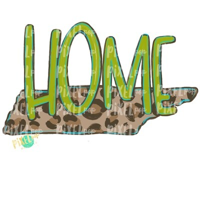 State of Tennessee Shape HOME Leopard PNG | Tennessee | Home State | Sublimation Design | Heat Transfer | Digital | Leopard Print