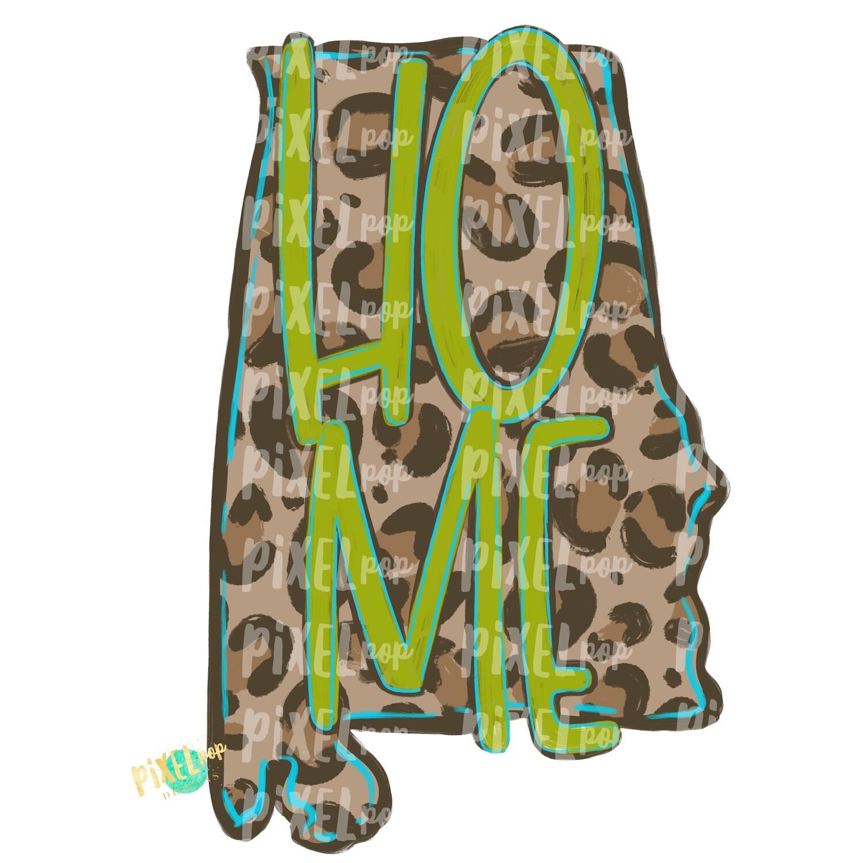 State of Alabama Shape HOME Leopard PNG | Alabama | Home State | Sublimation Design | Heat Transfer | Digital | Leopard Print