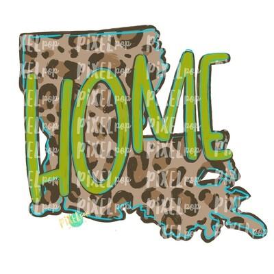 State of Louisiana Shape HOME Leopard PNG | Louisiana | Home State | Sublimation Design | Heat Transfer | Digital | Leopard Print