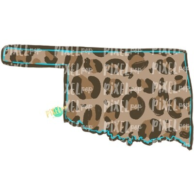 State of Oklahoma Shape Turquoise and Leopard PNG | Oklahoma | Home State | Sublimation Design | Heat Transfer | Digital | Leopard Print