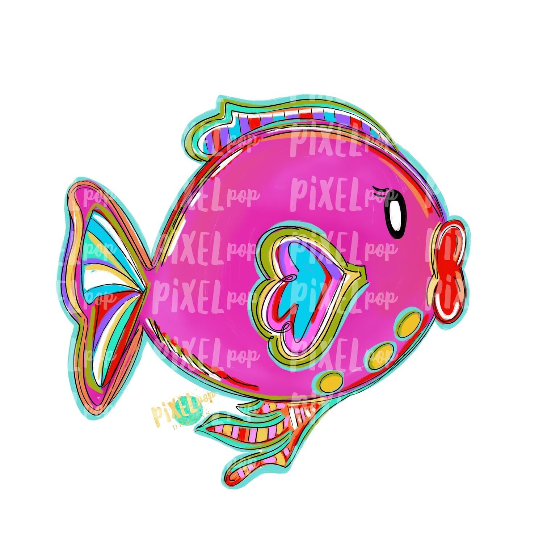 Bright Big Lips Fish Pink PNG | Fish | Fish Art | Fish Sublimation | Fish Design | Tropical Fish Clip Art | Fish Doodle | Digital Fish Art
