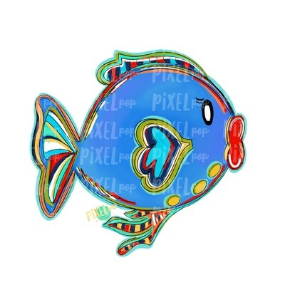 Bright Big Lips Fish Blue PNG | Fish | Fish Art | Fish Sublimation | Fish Design | Tropical Fish Clip Art | Fish Doodle | Digital Fish Art