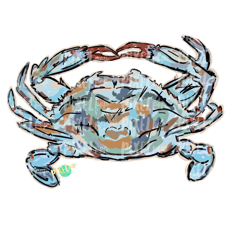 Artsy Painted Blue Crab PNG | Crab | Coastal Clip Art | Ocean | Crab Art | Sublimation Design | Digital Download | Printable Art | Clip Art
