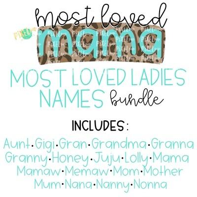 Most Loved Ladies Names Bundle - 19 Designs
