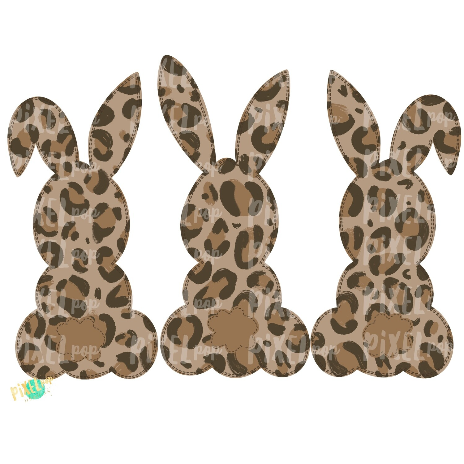 Bunny Silhouettes Trio Leopard Print PNG | Bunny | |Cheetah | Easter Design | Bunny Design | Easter PNG | Sublimation Design | Digital Art
