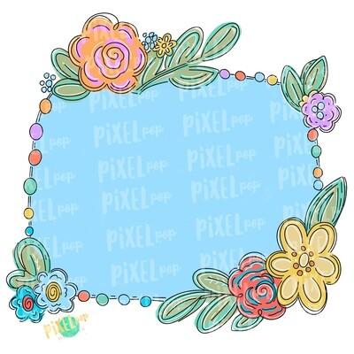 Floral Oblong Frame Blank PNG | Flower Frame | Sublimation Design | Flowers on Frame PNG | Digital Download | Printable Art | Digital Art