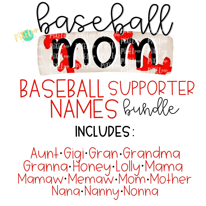Baseball Supporter Names Bundle - 16 Designs