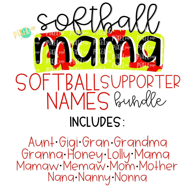 Softball Supporter Names Bundle - 16 Designs