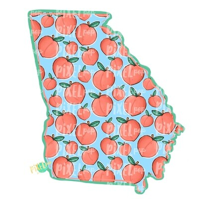 State of Georgia Shape with Peaches PNG | Georgia State | Home State | Sublimation Design | Heat Transfer | Digital | Peaches Background