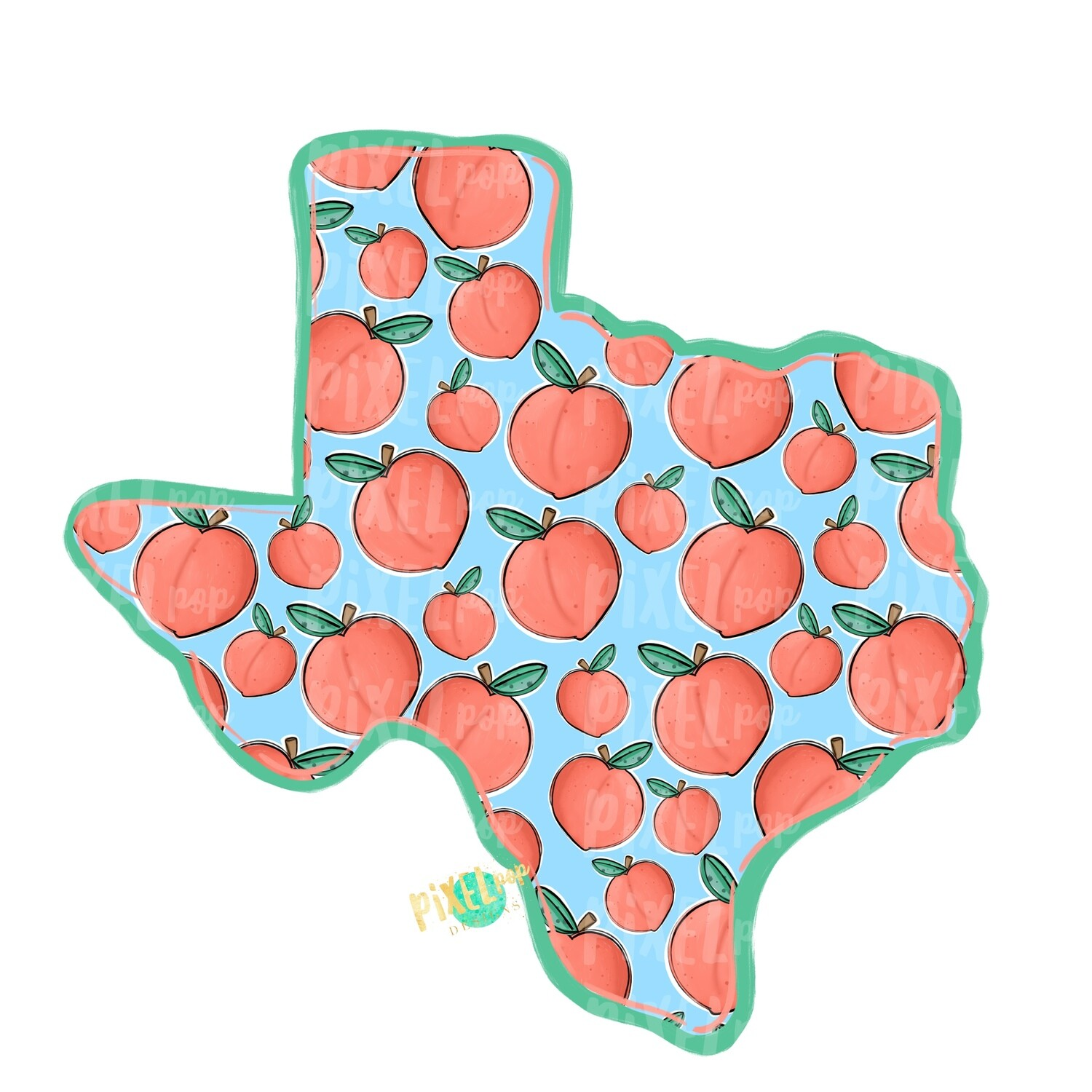 State of Texas Shape Peaches PNG | Texas | Home State | Sublimation Design | Heat Transfer | Digital | Peaches Background