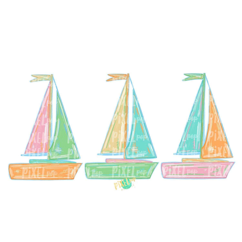 Pastel Sailboats Trio PNG | Sublimation Design | Sailboat Sublimation | Sailboat | Nautical Clip Art | Boat | Pastel Sailboat | Pastel Boats