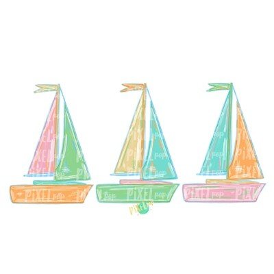 Pastel Sailboats Trio PNG | Sublimation Design | Sailboat Sublimation | Sailboat | Nautical Clip Art | Boat | Pastel Sailboat | Pastel Boats