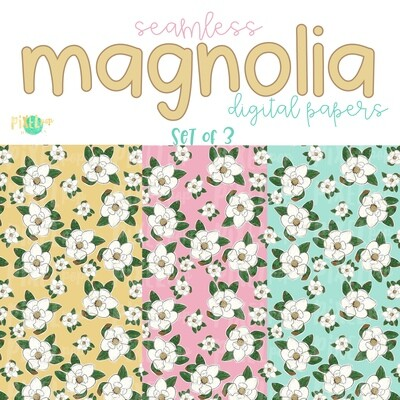 Magnolia Seamless Digital Paper Set of Three PNG | Hand Painted Magnolias | Sublimation PNG | Digital Download | Digital Scrapbooking Paper