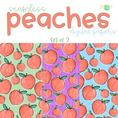 Peaches Seamless Digital Paper Set of Three PNG | Hand Painted Peaches | Sublimation PNG | Digital Download | Digital Scrapbooking Paper