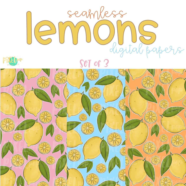 Lemons Seamless Digital Paper Set of Three PNG | Hand Painted Lemons | Sublimation PNG | Digital Download | Digital Scrapbooking Paper