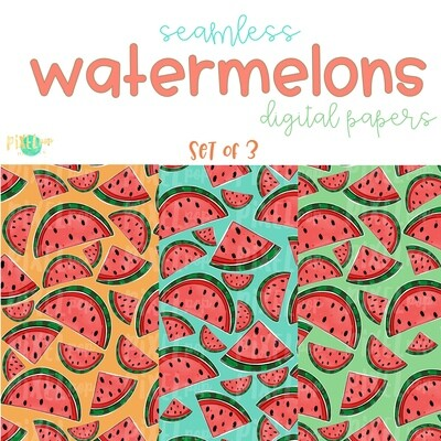 Watermelon Seamless Digital Paper Set of Three PNG | Hand Painted Watermelon | Sublimation PNG | Digital Download | Digital Scrapbooking