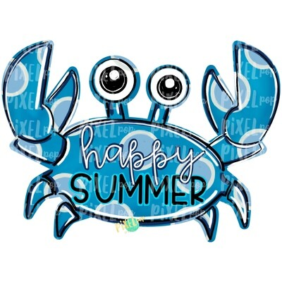 Blue Crab Happy Summer PNG | Crab | Coastal Clip Art | Ocean | Crab Art | Sublimation Design | Digital Download | Printable Art | Clip Art