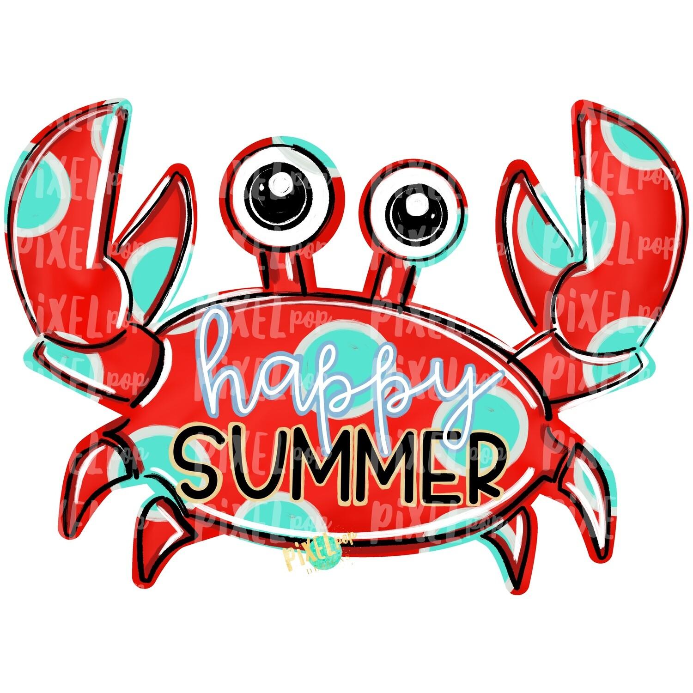 Red Crab Happy Summer PNG   Crab   Coastal Clip Art   Ocean   Crab Art   Sublimation Design   Digital Download   Printable Art   Clip Art