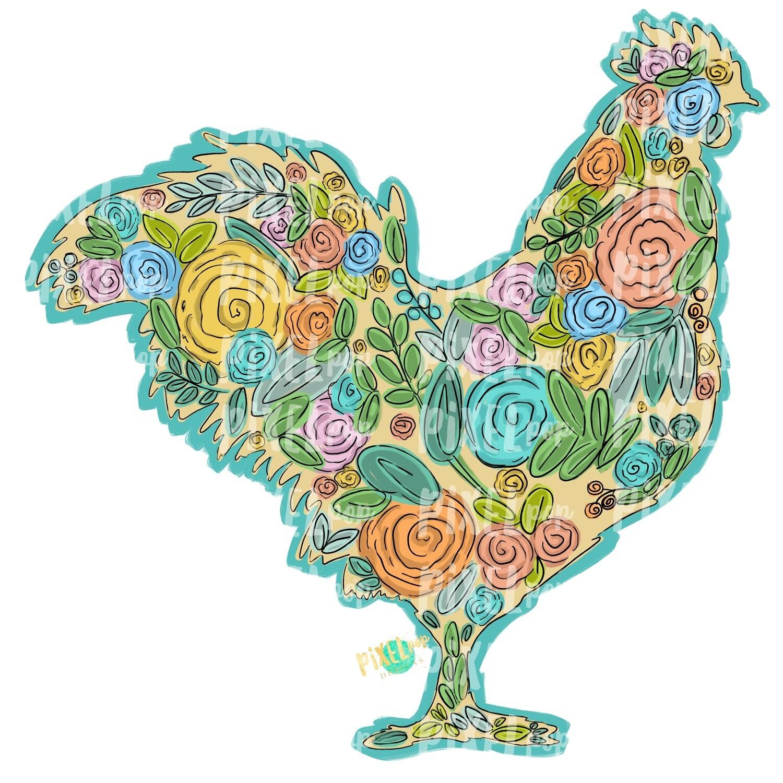 Floral Chicken Silhouette PNG   Chicken Art   Hand Painted Sublimation Design   Sublimation PNG   Digital Download   Printable Artwork   Art