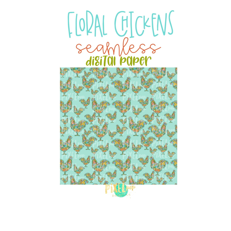 Floral Chicken Seamless Digital Paper PNG | Chicken Digital | Hand Painted | Sublimation PNG | Digital Download | Digital Scrapbooking Paper