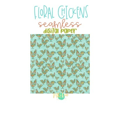 Floral Chicken Seamless Digital Paper PNG | Chicken Digital | Hand Painted | Sublimation PNG | Digital Download | Digital Scrapbooking Paper