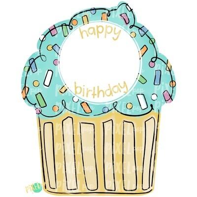 Neutral Cupcake Happy Birthday PNG | Cupcake | Happy Birthday | Cupcake Door Hanger | Sublimation | Digital Download | Printable | Clipart
