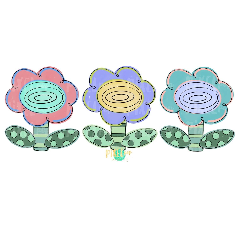 Sweet Spring Flowers Trio PNG | Painted Flowers | Spring Flower Sublimation Design | Heat Transfer PNG | Digital Download | Printable Art