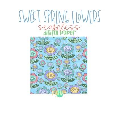 Sweet Spring Flowers Seamless Digital Paper PNG | Flower Art | Hand Painted | Sublimation | Digital Download | Digital Scrapbooking Paper