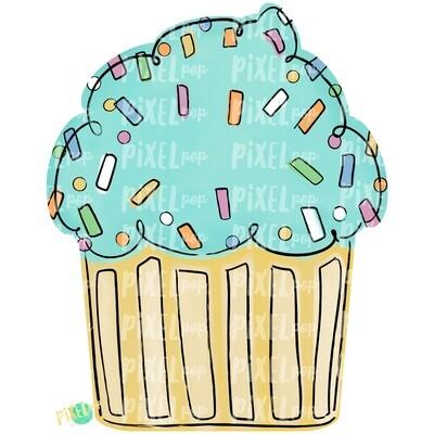 Neutral Cupcake PNG | Birthday Cupcake | Happy Birthday | Cupcake Door Hanger PNG | Sublimation | Digital Download | Printable Art | Clipart