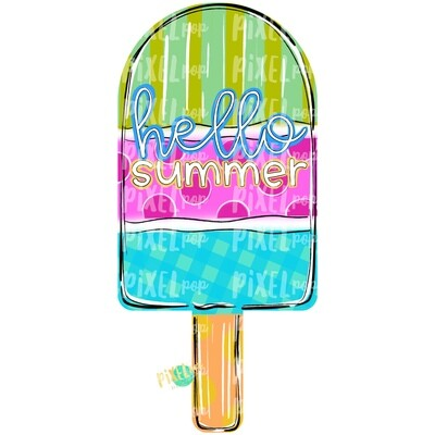 Hello Summer Popsicle Design PNG | Popsicle | Pop Ice | Dessert | Popsicle Painting | Spring Sublimation | Digital | Printable | Clip Art