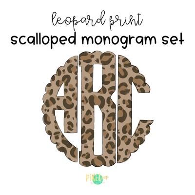 Leopard Print Circle Scalloped Monogram PNG Set | Hand Drawn | Circle Font | PNG | Art | Sublimation Doodle Letter | Transfer Letters
