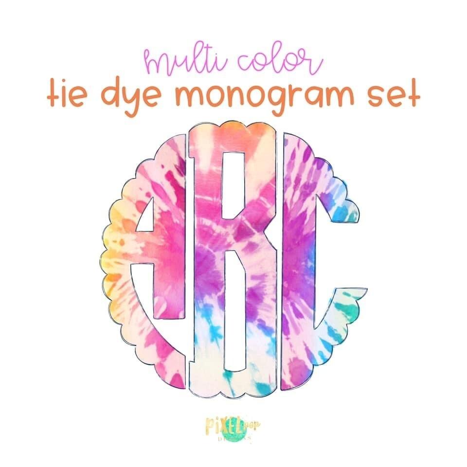 Tie Dye Circle Scalloped Monogram PNG Set | Hand Drawn | Circle Font | PNG | Art | Sublimation Doodle Letter | Transfer Letters