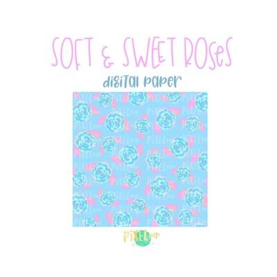 Soft and Sweet Roses Digital Paper PNG | Roses Digital | Hand Painted | Sublimation PNG | Digital Download | Digital Scrapbooking Paper