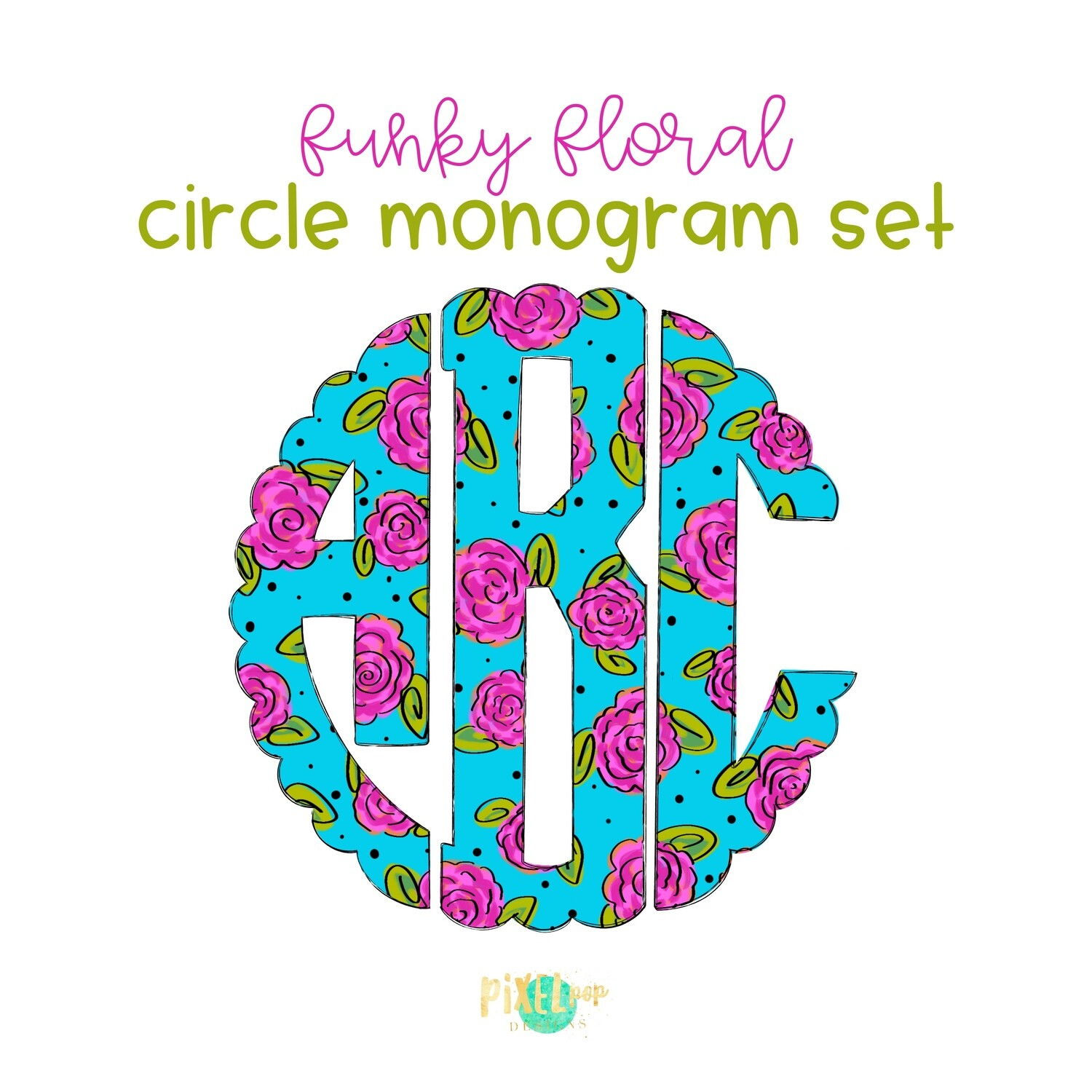 Funky Floral Circle Scalloped Monogram PNG Set | Hand Drawn | Circle Font | PNG | Art | Sublimation Doodle Letter | Transfer Letters