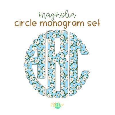 Blue Magnolia Circle Scalloped Monogram PNG Set | Hand Drawn | Circle Font | PNG | Art | Sublimation Doodle Letter | Transfer Letters