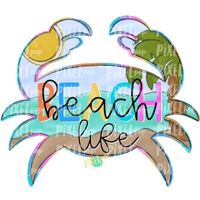Beach Life Scene Crab PNG | Crab | Coastal Clip Art | Ocean | Crab Art | Sublimation Design | Digital Download | Printable Art | Clip Art