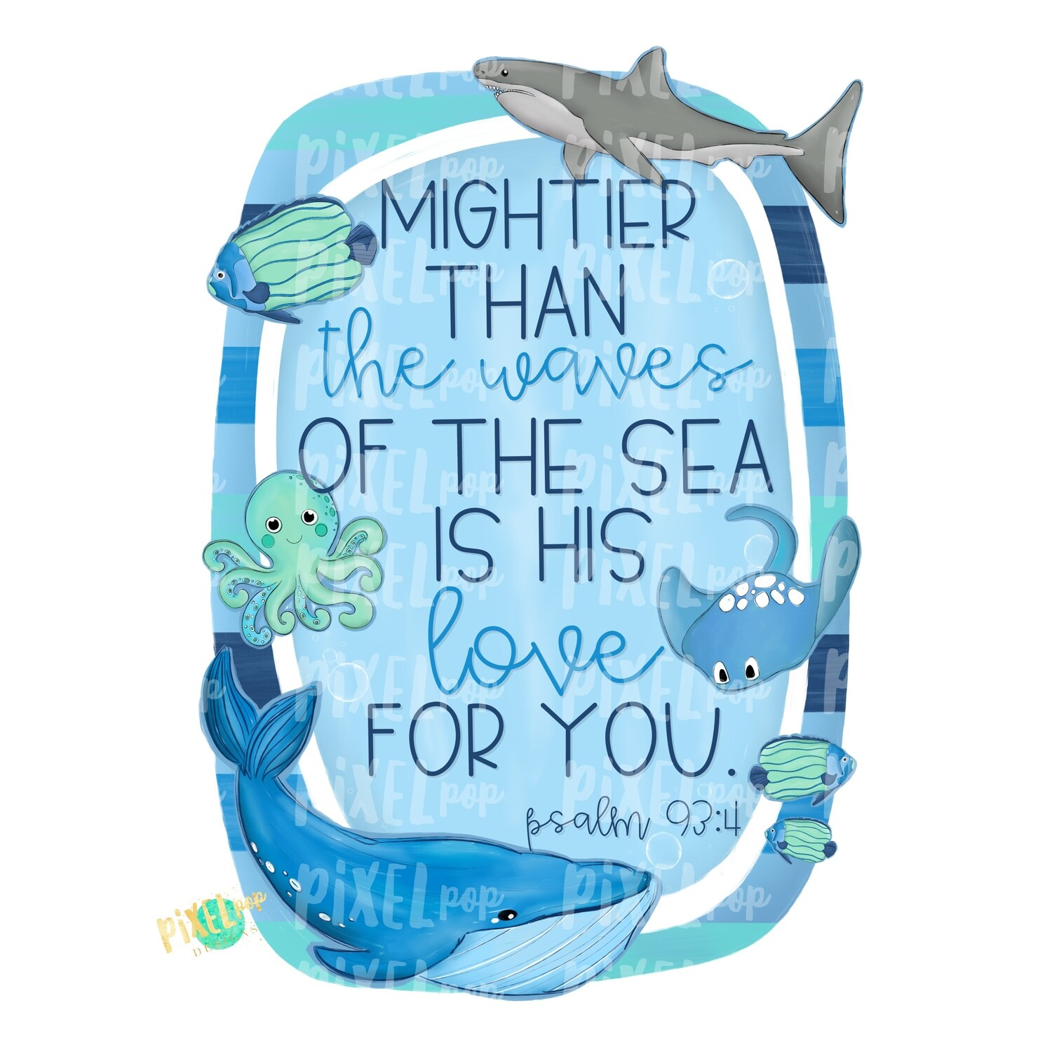 Mightier Than the Waves of The Sea is His Love Psalm PNG | Ocean Design | Fish Design | Whale Shark Fish Art | Fish Doodle | Digital Art