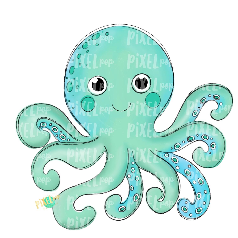 Aqua Octopus Art PNG | Octopus | Octopus Art | Octopus Sublimation | Octopus Design | Octopus Clip Art | Octopus Doodle | Digital Fish Art